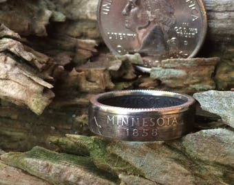 Minnesota state quarter coin ring