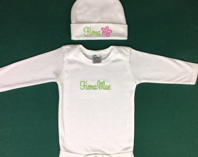 Personalized preemie or newborn outfit for baby girl - baby shower gift, newborn photography, take home, gift set, layette set, preemie gift
