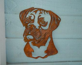 Boxer Dog Head / Boxer Dog Gift/ Boxer Garden Art / Dog Garden Decoration / Dog Lover Gift / Dog Garden Wall Hanger / Rusty Metal Art