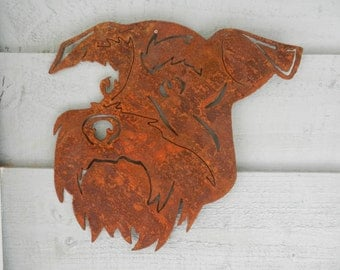 Schnauzer Gift / Miniature Schnauzer Garden Art / Dog Garden Decoration / Dog Lover Gift / Dog Garden Wall Decor / Rusty Metal Dog Art