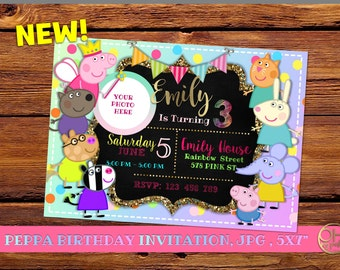 Peppa pig invitation birthday with photo, invitation peppa pig, peppa pig invitation, peppa pig party, peppa birthday, birthday peppa pig