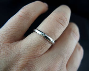 Ring alliance a half ring white gold and diamonds / / / french 18kt white gold wedding band ring set with diamonds