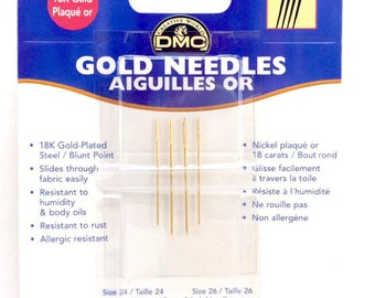 Needles: Bucilla Ribbon Embroidery; Dritz Crewel & Doll; DMC 18K Gold-Plated sizes 24/26 per pack