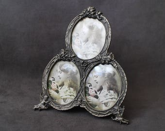 Antique Victorian Picture Frame, Vintage Picture Trio Frame, 3 Photo in One Picture Frame, Ornate Cherub Photo Frame