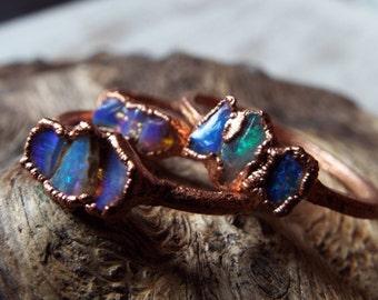 Opalring, Feueropal, Edelsteinring, Kristallring, Boulderopal, Kupferring, Boho ring, Crystal ring, Raw Crystal ring, Opal ring, Fire Opal