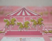 Handmade Carousel Birthday Baby Shower Invitations - 10 pieces