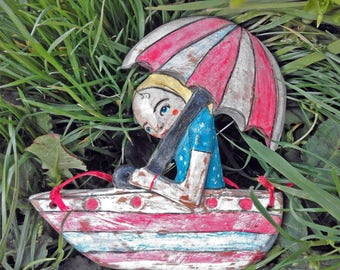 Terracotta sculpture poster-terracotta figurines-figurines-sculptural clay handmade terracotta-boat-girl with umbrella-gift