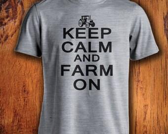 Men's Tshirt Farm Shirt Keep Calm and Farm On farming shirt farmer tshirt shirt for farmer mens farming shirt mens farmer shirt