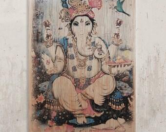 Ganesha - Lord Ganesh / / Transfer on wood