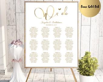 Gold Wedding Seating Chart Template, Seating Chart Printable, Seating Board, Editable Seating Chart, Seating Poster, Seating plan,