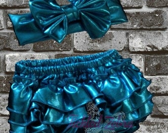SALE!!!  Baby Girl Metallic Ruffle Butt Bloomers With Headband Set Baby Shower Gift - Bow - Accessories - Shorts - Diaper Cover - Blue, Pink