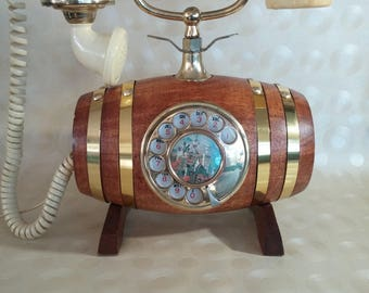 Wood Barrel, Dial Telephone | Rotary Phone, Man Cave, Rare, Vintage, Dad gift, cradle phone, collectable, man cave, Novelty telephone