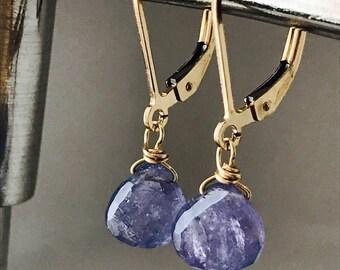Tanzanite Earrings Gemstone Earrings Dainty Earrings Purple Earrings Healing Earrings Minimalist Earrings Drop Earrings