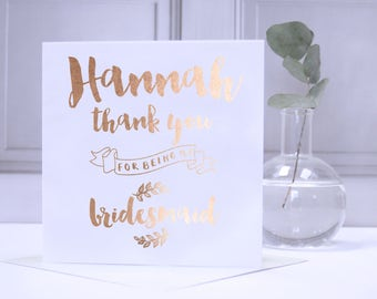 Personalised Foil Bridesmaid Thank You Card - Personalised Bridesmaid Card - Personalised Thank You Card - Bridesmaid Card