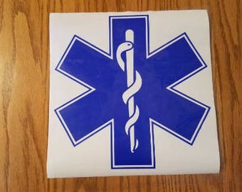 "Paramedic Decal, Ems Decal, Ems Gifts, Emt Decal, Emt Gifts, Star of Life Decal, Paramedic Gift, Ems Star of Life, 6"" x 6"" Car Decal"