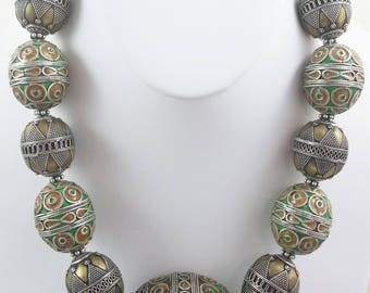 New Handmade Necklace w/ Vintage Moroccan Silver & Green Enamel Pendant and Beads, Afghanistan/Turkomen Silver and Brass Beads