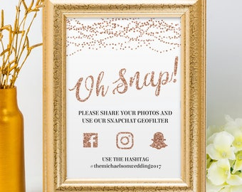 Printable Rose Gold Glitter Foil Look String Lights Social Media Wedding Event Hashtag Sign, 2 Sizes, Editable PDF, Instant Download