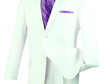 Classic-fit men's suit 2 piece 2 bottons design solid white suits new with tag