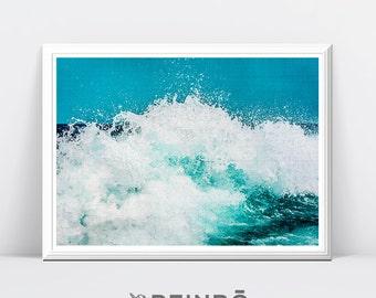 Wave Art, Wave Print, Ocean Print, Sea Art, Sea Print, Sea Wall Art Printable, Blue Wall Art, Surf Print, Ocean Art, Surf Art Print