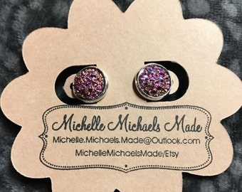 Medium 10mm Earrings - Change in different light between purple, pink, and gold