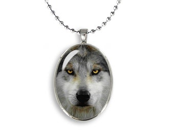 Wolf Oval Pendant Grey Wolf Necklace Photo Pendant Wild Wolf Necklace