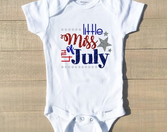 Little Miss 4th of July, 4th of July Baby Girl, 4th of July Baby Girl Outfit, 4th of July Baby Girl Romper, 4th of July Baby Outfit, July 4