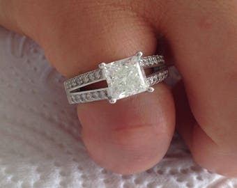 Certified 2.52 CT Princess cut Diamond engagement Ring 14k white gold  hand made