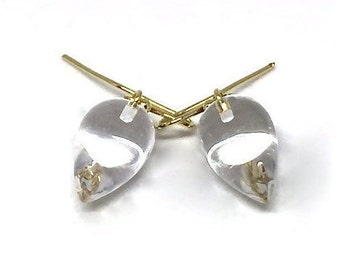Rock Crystal Acorn Earrings Crystal Quartz 18k Acorn Earrings Rock Crystal Earrings April Birthstone Womens Gift for Wife Girlfriend Her