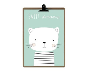 Cat nursery print - Green color Nursery art prints - baby nursery decor - nursery wall - Children Art - Kids Room