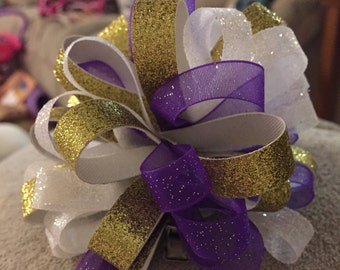 sparkly barrette purple barrette white barrette gold barrette hair bow loopy hair bow curly hair bow Minnesota Vikings barrette purple white