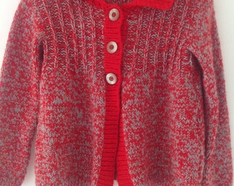 Hand made cardigan, Vintage hand knitted cardigan,  ladies chunky wool cardigan, red cardigan, ladies sweater,  boxy, cropped,  UK6, XS