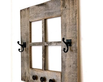 rustic window frame coat rack 24 x 24 5 hooks window frame made with reclaimed wood