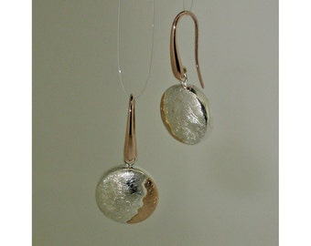 """Silver and gold earrings red """"Sunsets"""" round"""