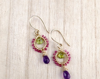 Amethyst peridot earrings – Gold earrings – Mothers Day gift – Colourful earrings – Amethyst briolette earrings - Wire wrapped jewellery