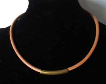 Men's leather choker, Natural leather and copper tube necklace,