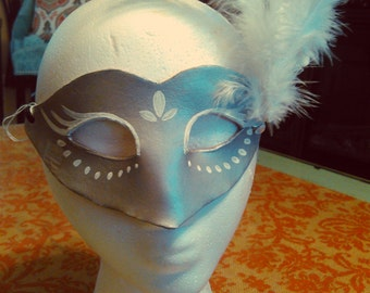 Silver and White Leather Mask