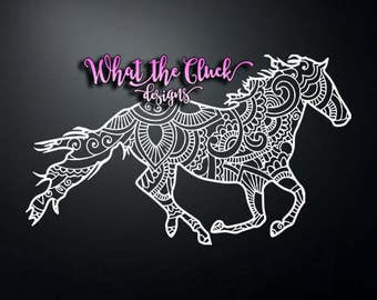 Paisley Galloping Horse - Vinyl Sticker Decal - 6.5 in. x 3.5 in.