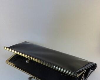 Vintage Black Shiny Snap Clutch