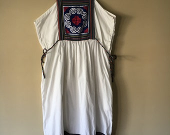 SALE! Vintage 1970s White Pinafore Apron Summer Dress with Colorful Ribbon Size Medium