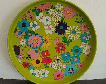 RESERVED!! Vintage Tin Tray Modern Retro Swedish Design Flower Power 70s 80s