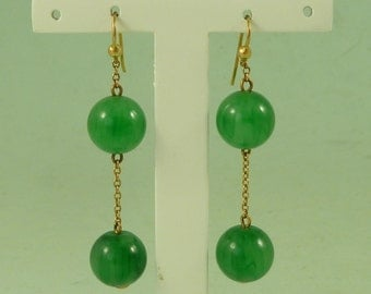 Vintage Art Deco 14K Gold Jade Coloured Glass Bead Earrings
