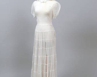1940 Dotted Swiss Vintage Wedding Gown