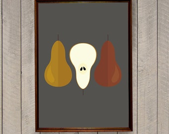 Fruit Poster, Digital Print, Kitchen Art, Kitchen Art Print, Kitchen Wall Decor, Food Poster, Pear Print, Scandinavian Print, Pear Art Print
