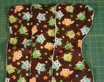 3 Owl Burp Rags