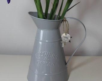 Rustic Grey Metal jug/vase