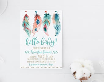 Boho baby shower invitation gender neutral, Bohemian, Tribal, baby shower invitations boy girl, digital invite printed invites, aztec