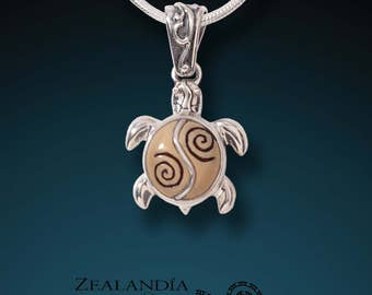 Silver Turtle Pendant - Hand Carved Tagua Nut