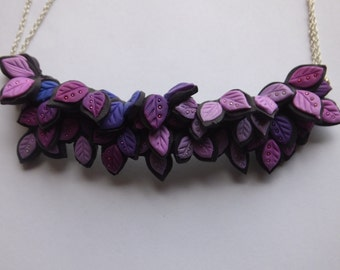 Purple leaves polymer clay necklace