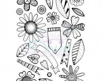 Sweet Dixie - Retro Flowers - A6 clear stamp set