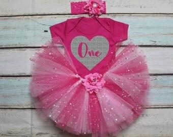 One Heart First Birthday Baby Girls Outfit Set Hot Pink Tutu Print Hot Pink Vest Bodysuit Onesie & Headband